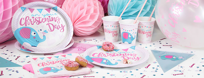 Pink Christening Day Party Supplies