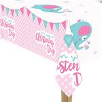 Christening Day Pink Plastic Tablecover - 1.8m x 1.2m