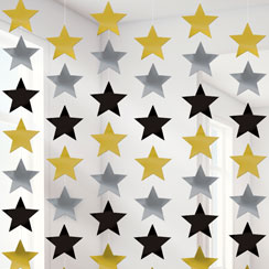Gold Silver & Black Star Hanging Strings Decoration - 2.1m