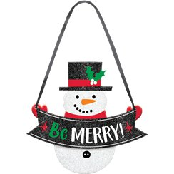 """Be Merry!"" Snowman Wooden Sign"