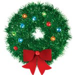 Tinsel Wreath with Bow - 15cm