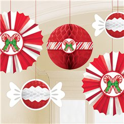 Peppermint Honeycomb & Fan Decorations
