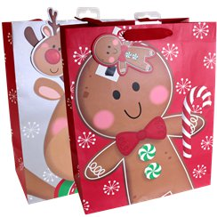 Extra Large Gingerbread Man Christmas Gift Bag - 45cm