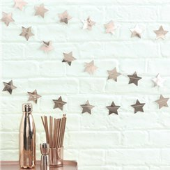 Rose Gold Metallic Star Garland - 5m