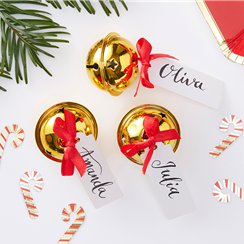 Merry & Bright Gold Bell Place Card Holders - 4cm