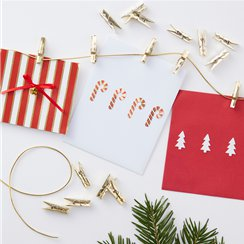 Merry & Bright Gold Twine & Peg Card Holder - 3m