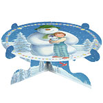 Snowman and Snowdog Cake Stand - 1 Tier