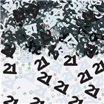 21st Birthday Black & Silver Table/Invite Confetti