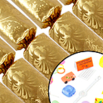 6 Gold Christmas Crackers - 10