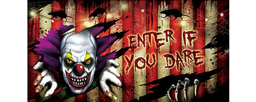 Scary Clown 'Enter If You Dare' Banner - 1.65m