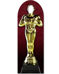 Hollywood Awards Night Golden Statue Stand In Cardboard Cutout - 1.8m