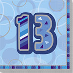 13th Birthday Blue Luncheon Napkins - 2ply Paper