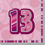 13th Birthday Pink Luncheon Napkins - 2ply Paper
