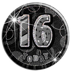 Black 16th Birthday Badge - 15cm