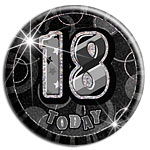Large Black 18th Birthday Badge - 15cm