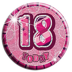 Pink 18th Birthday Badge - 15cm