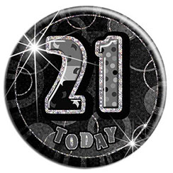 Black 21st Birthday Badge - 15cm
