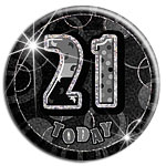 Large Black 21st Birthday Badge - 15cm