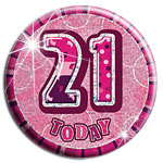 Large Pink 21st Birthday Badge - 15.5cm