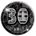 Large Black 30th Birthday Badge - 15cm