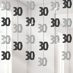 30th Birthday Black Hanging Decorations - 5ft Party Decorations