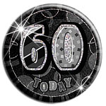 60 Today Big Birthday Badge - Black - 15.5cm
