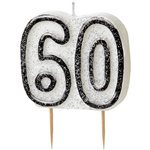 60th Birthday Candle - Black