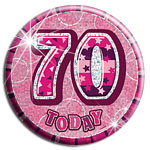 Large Pink 70th Birthday Badge - 15cm