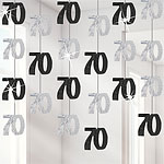 70th Birthday Black Hanging String Decorations - 1.5m