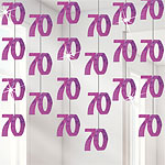 70th Birthday Pink Hanging String Decorations - 1.5m