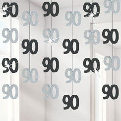90th Birthday Black Hanging Decorations - 5ft Party Decorations