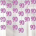 90th Birthday Pink Hanging Decorations - 1.52m Party Decorations