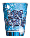 Happy Birthday Blue Cups - 266ml Paper Party Cups