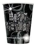 Happy Birthday Black Cups - 266ml Paper Party Cups