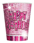Happy Birthday Pink Cups - 266ml Paper Party Cups