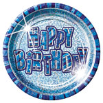 Happy Birthday Blue Plates - 22.8cm Paper Party Plates