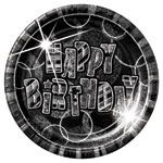 Happy Birthday Black Plates - 22.8cm Paper Party Plates