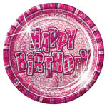 Happy Birthday Pink Plates - 22.8cm Paper Party Plates