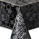 Happy Birthday Black Plastic Tablecover - 137cm x 213cm