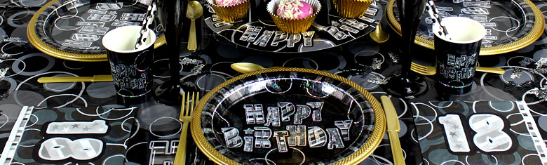 Dazzling Effects 18th Birthday Black Party Supplies