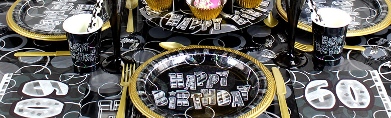 Dazzling Effects 60th Birthday Black Party Supplies