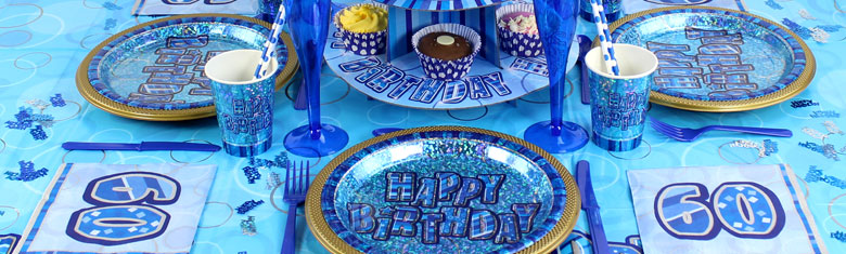 Dazzling Effects 60th Birthday Blue Party Supplies