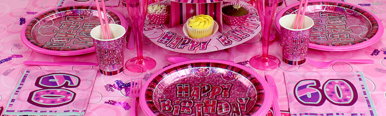 Dazzling Effects 60th Birthday Pink Party Supplies