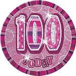100th Birthday Badge - Pink - 6""