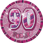 90th Birthday Badge - Pink - 6""