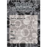 Birthday Celebration Black Invitations