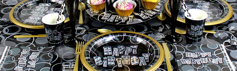 Dazzling Effects 90th Birthday Black Party Supplies