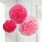 Set of 3 different sized Pink Pom Poms