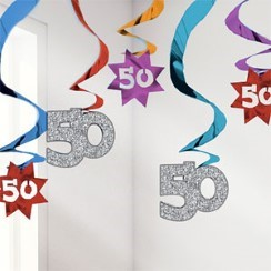 50th Birthday Hanging Swirls - 61cm Party Decorations