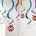 60th Birthday Hanging Swirls - 61cm Party Decorations